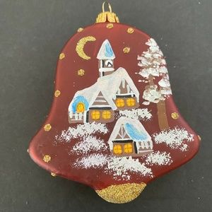 Christmas Ornament Handmade in Poland Red Bell